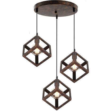 Adjustable Metal Pendant Light Square Lamp Shade 3 Lights Industrial Drop light Chandelier E27 Bulb (Rust)