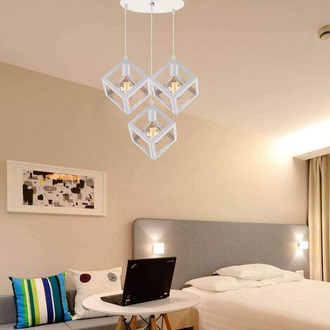 Adjustable Metal Pendant Light Square Lamp Shade 3 Lights Industrial Drop light Chandelier E27 Bulb (White)