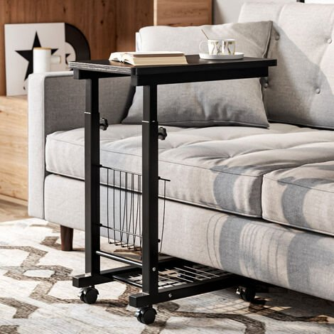 Adjustable Portable Laptop Table Trolley Sofa Bed Side End Tray Notebook Desk Black
