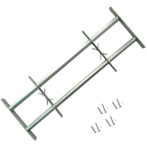 Adjustable Security Grille for Windows with 2 Crossbars 700-1050 mm - Silver