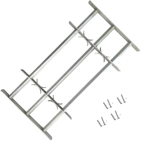 Adjustable Security Grille for Windows with 3 Crossbars 700-1050 mm - Silver