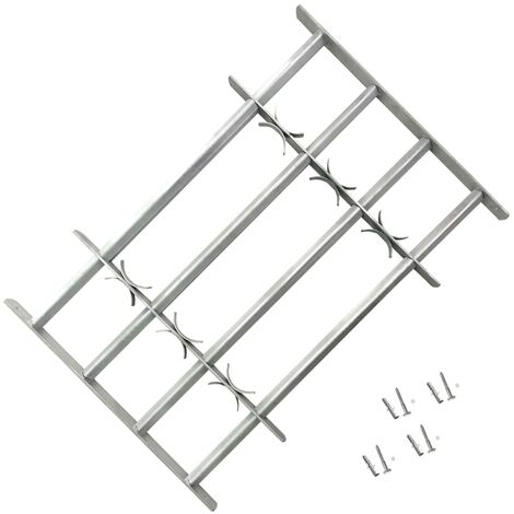 Adjustable Security Grille for Windows with 4 Crossbars 1000-1500 mm - Silver
