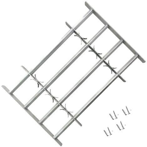 Adjustable Security Grille for Windows with 4 Crossbars 500-650 mm - Silver