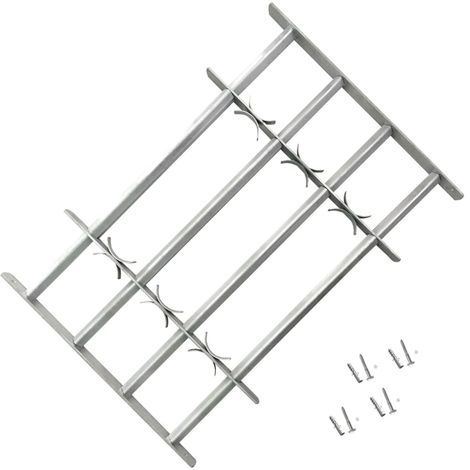 Adjustable Security Grille for Windows with 4 Crossbars 700-1050 mm VD03958