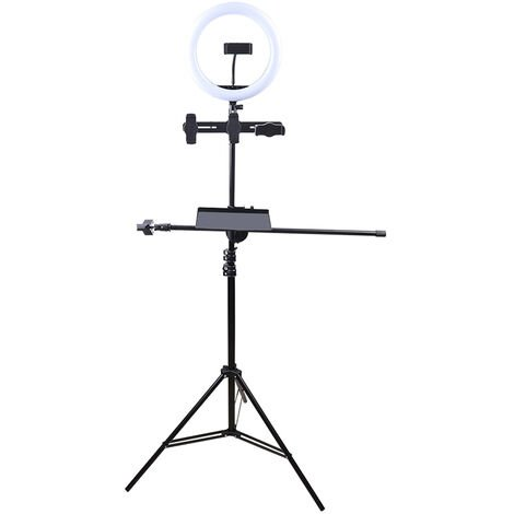 Adjustable Selfie Ring Light with Tripod Stand 4 Phone Holders for Live Videos