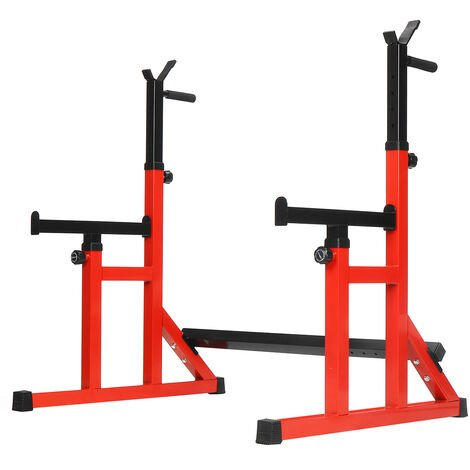Adjustable Squat Rack Weight Lifting Dip Stand Barbell Power Gym Training Red