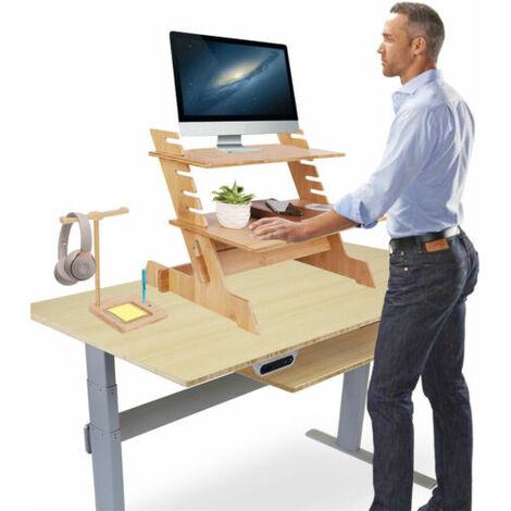 Adjustable Stand Up Desk Worktop Station,Riser for Keyboard,Monitor,Computer