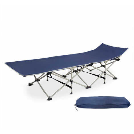 Adjustable Sun Lounger, Folding Beach Bed, 190 x 67 x 35 cm (75 x 26.4 x 13.8 inch), Navy blue, Material: 600D polyester, Steel tubes