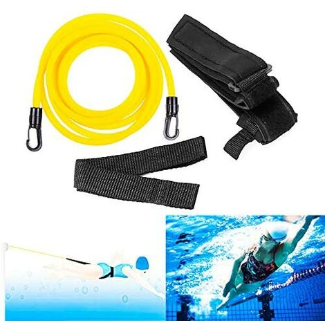 Adjustable swimming strap - Adjustable float resistance - 4 m - For swimming and learning - For children and adults - Accessory for swimming pool - Rubber belt - For freestyle - Yellow