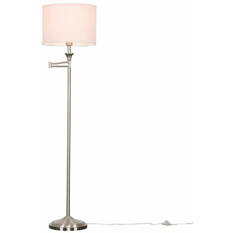 Adjustable Swing Arm Floor Lamp Brushed Chrome Finish Pink Shade - Add LED Bulb - Silver