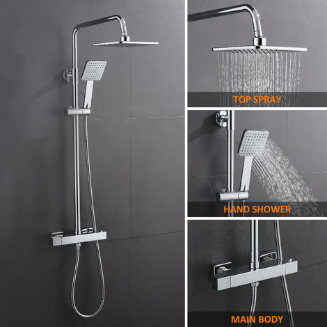 Adjustable thermostatic shower column. Sanitary taps. Thermostatic shower set with chromed rain effect shower head