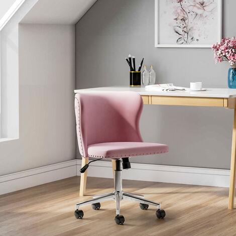Adjustable Velvet Home Office Computer Desk Chairs Swivel Stool Chair Pink