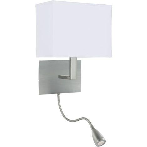 ADJUSTABLE WALL LIGHT DUAL ARM SATIN SILVER - LED FLEXI ARM