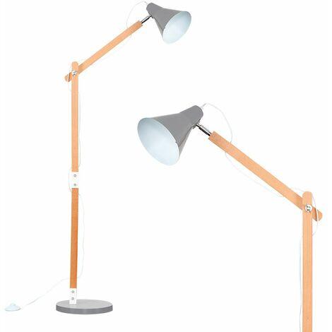 Adjustable Wooden Floor Lamp + Gloss Grey Metal Shade
