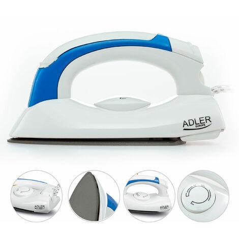 Adler AD5015 - Plancha de Viaje con mango plegable, ligera y pequeña, suela NON-STICK , ajuste temperatura, 700W