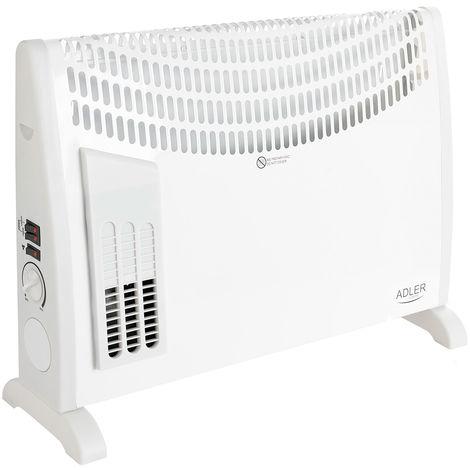 Adler AD7705 Convector aire caliente con termostato regulable para un bajo consumo, Turbo Fan, 3 niveles potencia, silencioso, (750W 1250W 2000W)