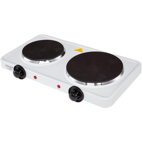 Adler Hornillo Eléctrico Doble, Zona Cocinado 18,5 - 15.5 cm, 2 Termostatos Regulación Continua 2500W Blanco