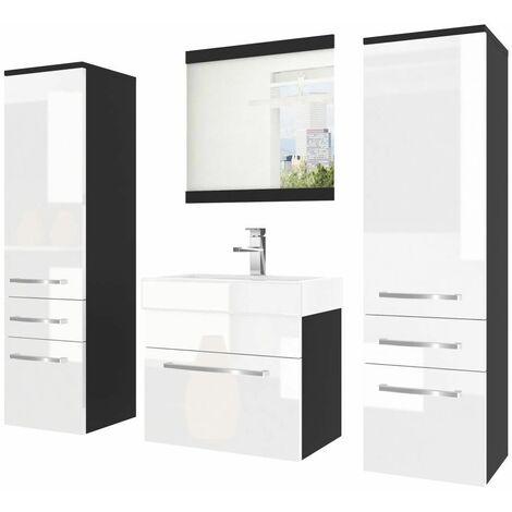 ADOR   Ensemble meubles salle de bain 5 pcs   Miroir + Lavabo 50cm + Meuble sous vasque + 2 colonnes - Blanc/Noir