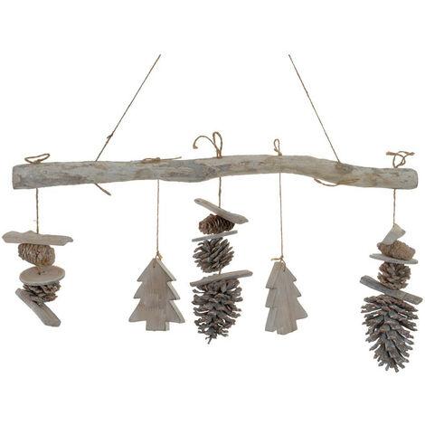 Adorno Colgante para Decoración Navideña, realizado en Madera Natural y Piñas. Diseño de Estrella/Árbol de Navidad - Hogar y Más A