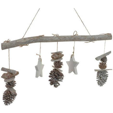 Adorno Colgante para Decoración Navideña, realizado en Madera Natural y Piñas. Diseño de Estrella/Árbol de Navidad - Hogar y Más B