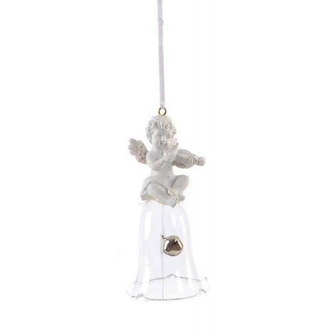 Adorno Colgante para Decoración Navideña, realizado en Resina y Cristal. Diseño Campana/Ángel, con estilo Festivo - Hogar y Más B