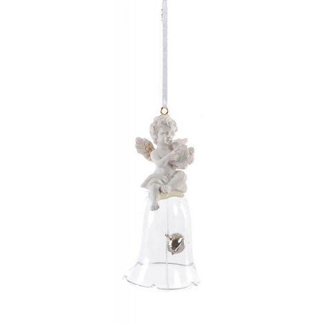 Adorno Colgante para Decoración Navideña, realizado en Resina y Cristal. Diseño Campana/Ángel, con estilo Festivo - Hogar y Más C