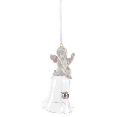 Adorno Colgante para Decoración Navideña, realizado en Resina y Cristal. Diseño Campana/Ángel, con estilo Festivo - Hogar y Más D