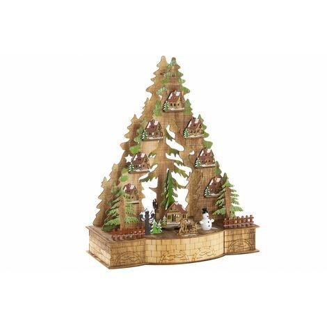 Adorno de Madera con Luces LED, para Decoración Navideña. Diseño de Árbol, con estilo Festivo (30cm X 37cm X 15cm) - Hogar y Más