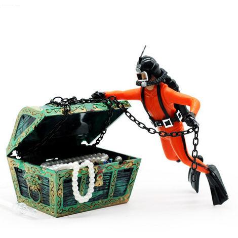 Adorno flotante de acuario, con cofre del tesoro en movimiento,negro