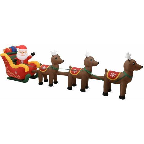 Adorno inflable de Navidad Papá Noel y renos LED 490 cm