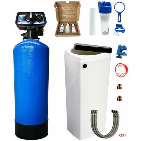 Adoucisseur d'eau bi bloc 20L Fleck 5600 chronométrique mécanique complet avec accessoires