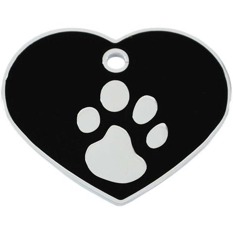 Adressanhänger mit Gravur - Herz groß - mit Pfote - Schwarz/Silber