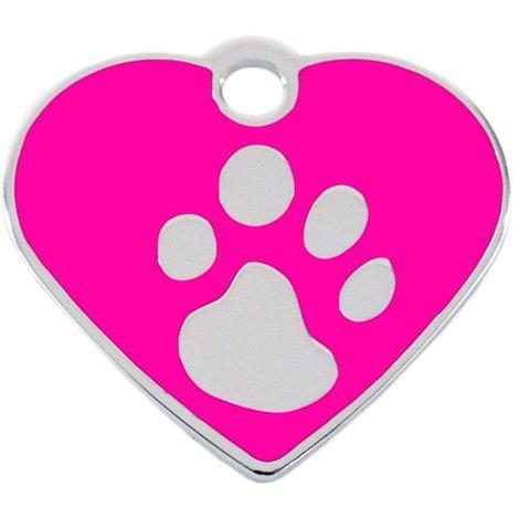 Adressanhänger mit Gravur - Herz klein - mit Pfote - Pink/Silber