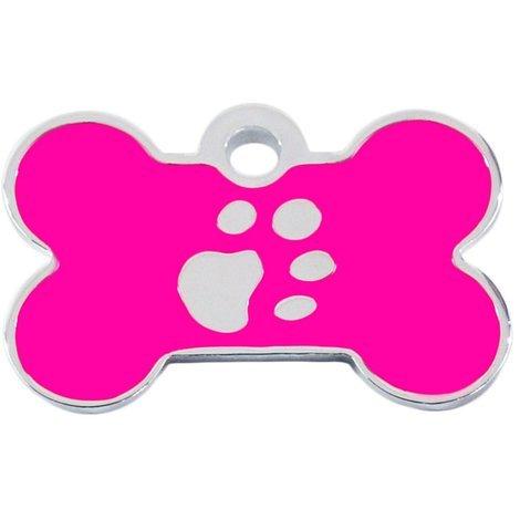 Adressanhänger mit Gravur - Knochen klein - mit Pfote - Pink/Silber