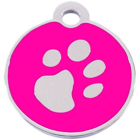 Adressanhänger mit Gravur - rund klein - mit Pfote - Pink/Silber