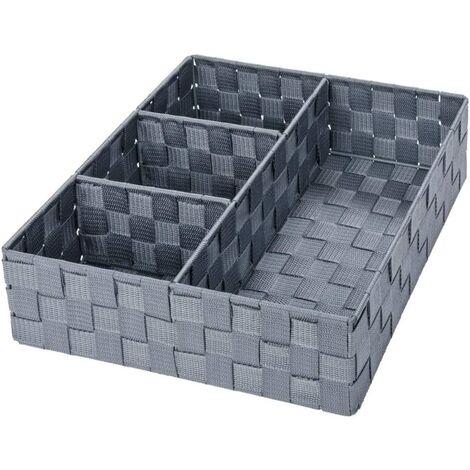 Adria Bathroom Storage Box 4 Dividers Gray 32.0 x 32.0 x 10.0 cm