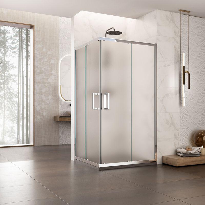 80x100 cm Box doccia scorrevole in cristallo 6mm trasparente h.195 cm mod.SOCOTRA