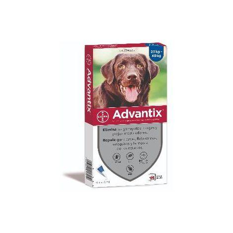 Advantix Pipetas Anti Parásitos, Pulgas y Garrapatas para Perros Grandes (+25 kg) - 4 Pipetas x 4,0 ml