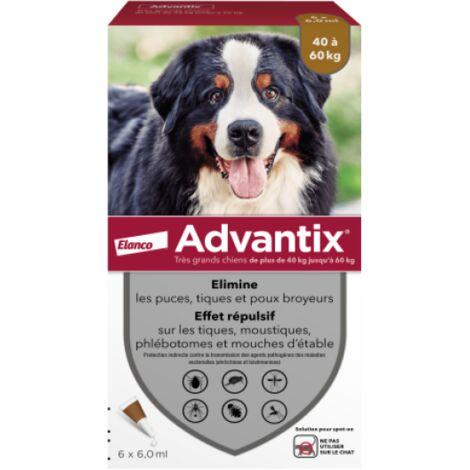 Advantix soin antiparasitaire pour chiens Plus de 40 kg Boîte de 6 Pipettes
