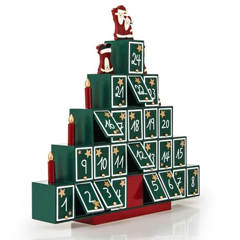 Advent Calendar Christmas Decoration Wood Reusable Refillable Xmas Countdown