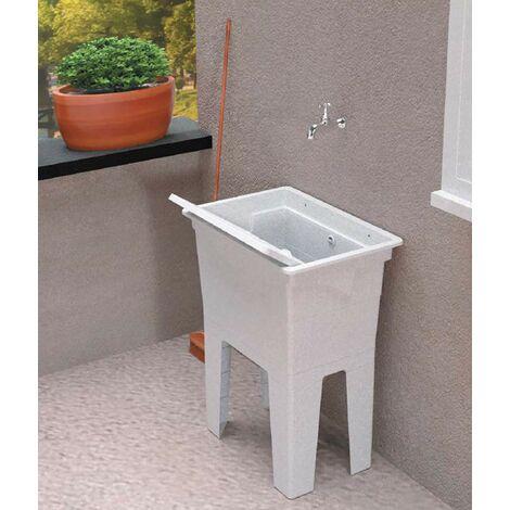 Adventa, Lave-Mains Monobloc en résine PP pour extérieur, Blanc, 59 x 41 x 75 cm