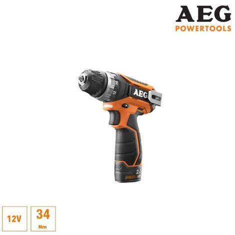AEG 12V Li-ion screwdriver drill - 2 batteries 2.0Ah Pro-Lithium - 1 charger 40min - BS12C2-202C