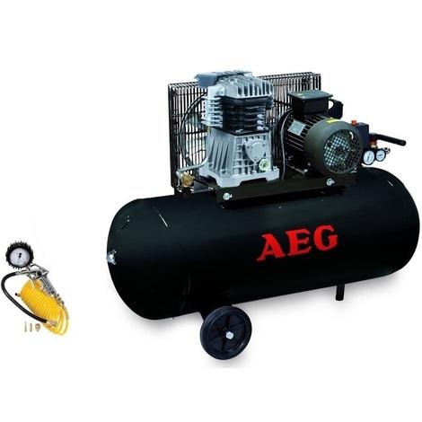Aeg - Compresseur bi-cylindres 100L - 3CV - 10 bar - 240 L/min avec kit complet de gonflage