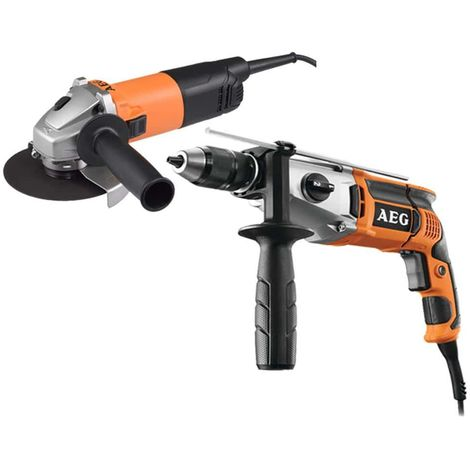 AEG Electric Impact Drill Pack 1100W - 800W Electric Grinder