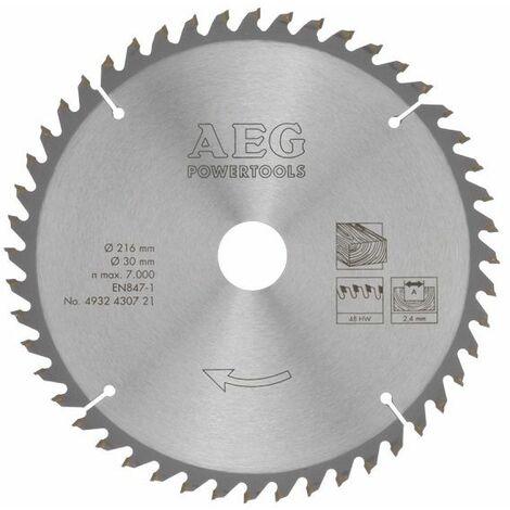 AEG Elektrowerkzeuge Sägeblatt Holz für Kapp- und Gehrungssägen 216/30 mm, Z48 - 4932430721