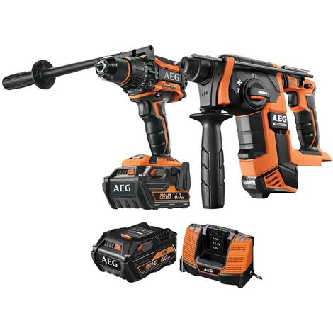 AEG Pack SDS Plus Brushless 18V SDS Hammer Drill BBH18BL-0 - 18V Brushless Percussion Drill BSB18BL-602C - 2 batteries 6