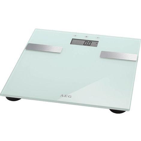 AEG PW 5644 - Báscula de análisis corporal de 7 funciones, de cristal y acero inoxidable, color blanca