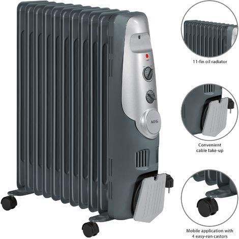 AEG RA 5522 - Radiador de aceite, 2200 W, 11 elementos, termostato, 3 niveles de potencia