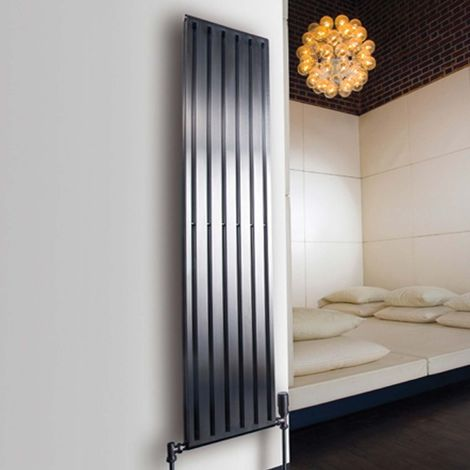 Aeon Supra Double Designer Vertical Radiator 1200mm H x 660mm W - Brushed Matt