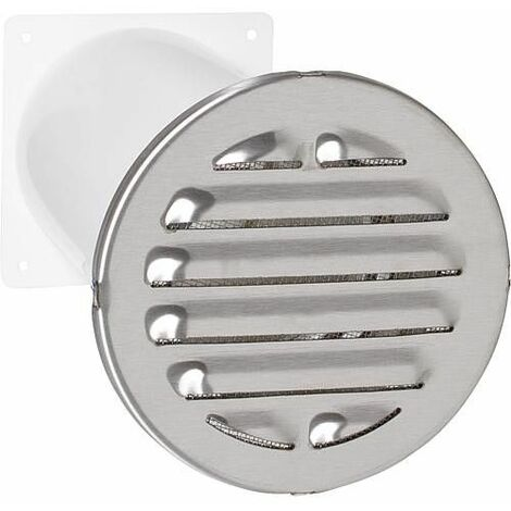 Aerateur a canal telescopique Raccord rond. D 100 mm Grille ext diam : 150 mm V2A rond